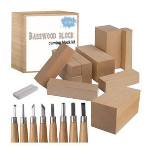 10 Basswood Carving Blocks & Carbon Steel Tools
